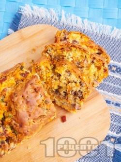 Морковен солен кекс със синьо сирене, шунка и маслини - снимка на рецептата